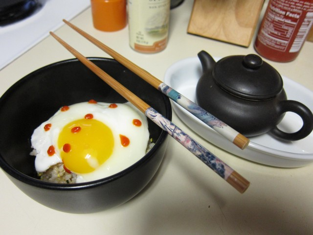 Egg and rice with tea