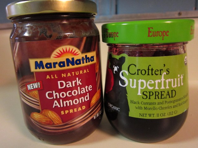 Dark chocolate almond butter and Crofter's jam