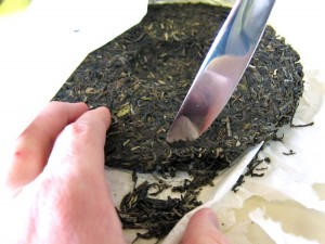 Breaking off some pu-erh tea leaves