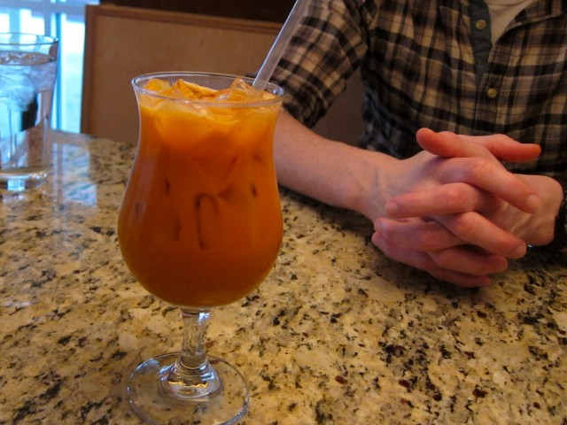 Thai iced tea at Garlic Thai