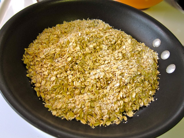 Toasting oats in dry pan