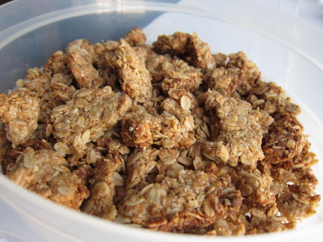 Almond butter honey oat granola close up