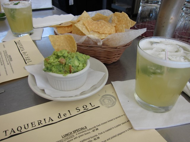 Chips, guac, and margarita at Taqueria del Sol