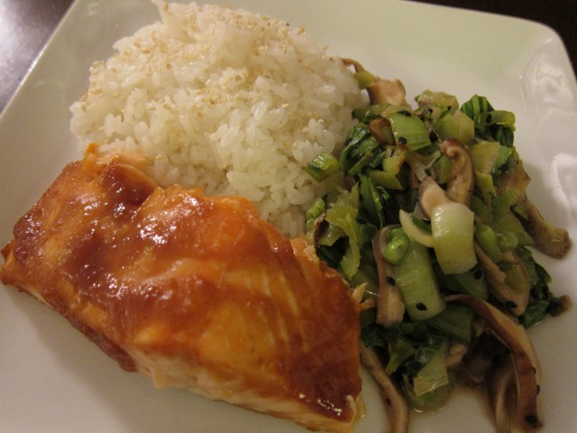 Miso salmon with bok choy and shiitakes