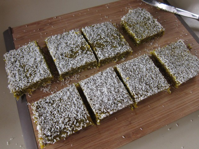 Cut orange pistachio bars