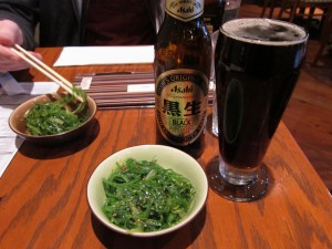 Asahi Black and seaweed salad