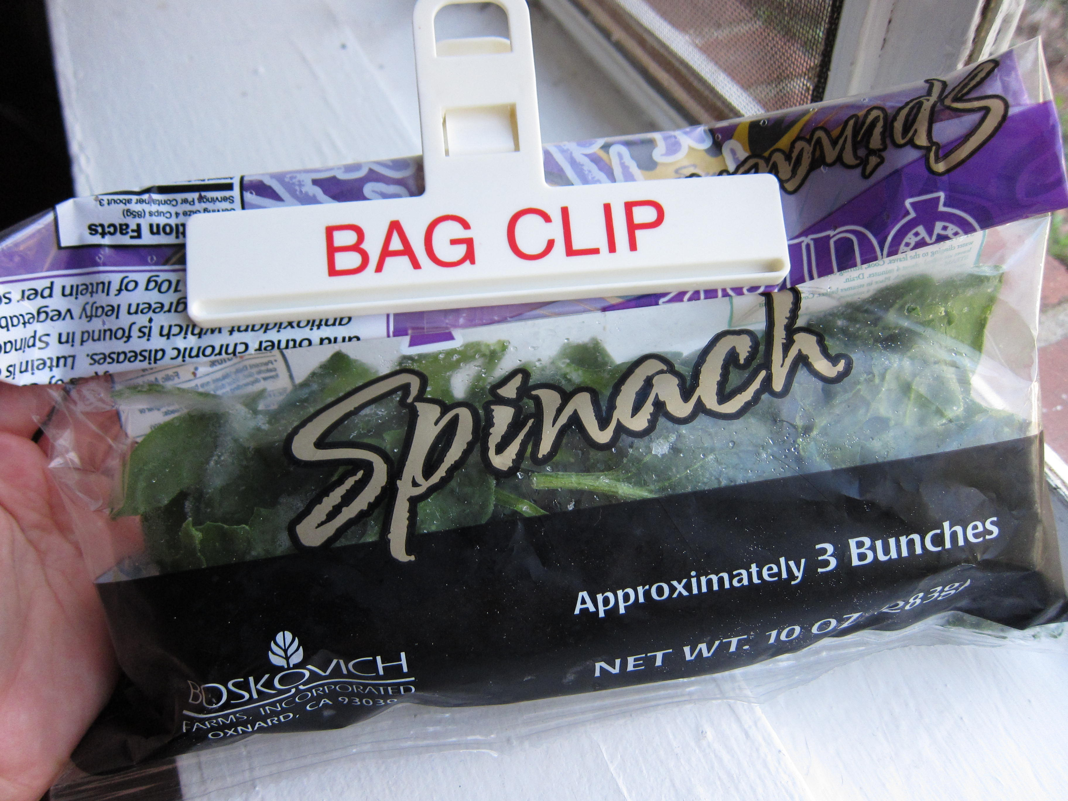 Bag of frozen loose spinach