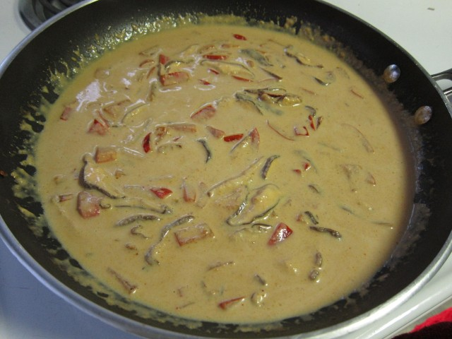 Add coconut milk and red curry coconut peanut butter