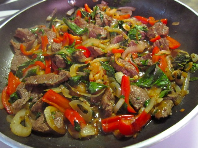 Finished thai basil beef