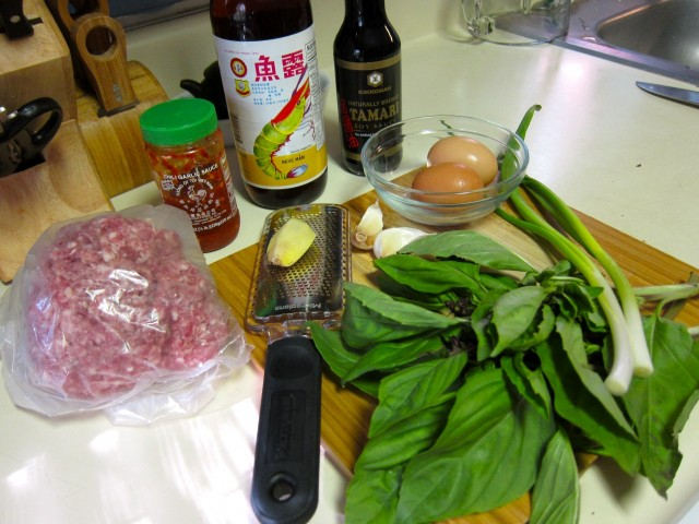ingredients for pork with thai basil