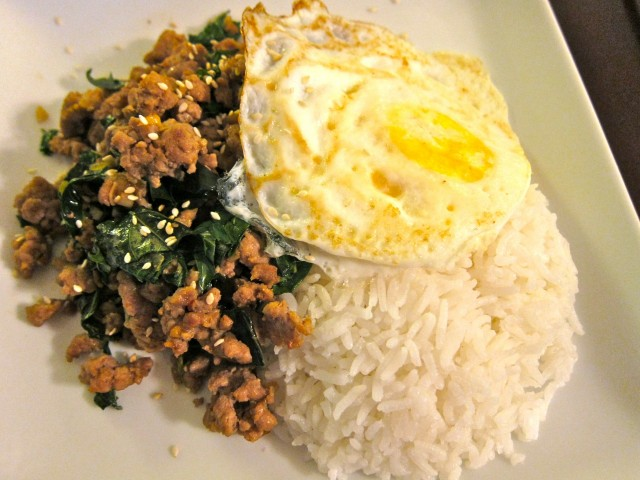 Pork with thai basil and a fried egg