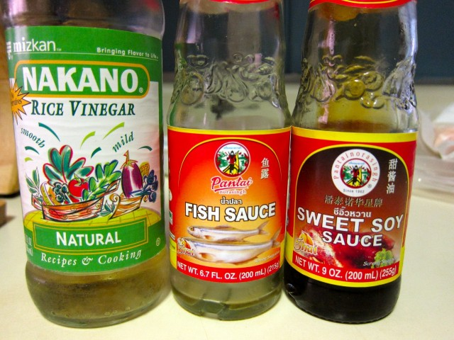 Rice vinegar, fish sauce, sweet soy