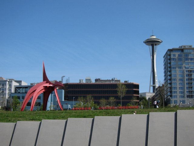 Space needle and red elephant sculpture