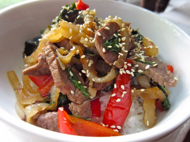 Thai basil beef over rice