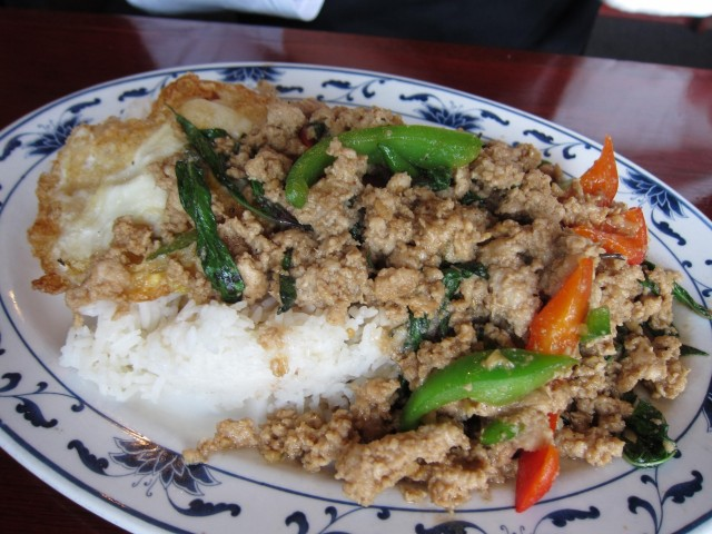 Thaiku basil pork with egg
