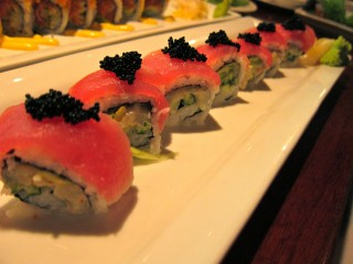 Umi signature roll with scallop salad