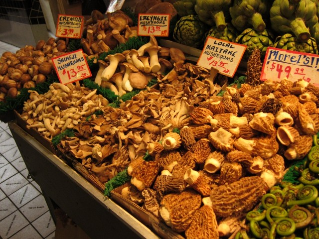 Wild mushrooms at Pike Place