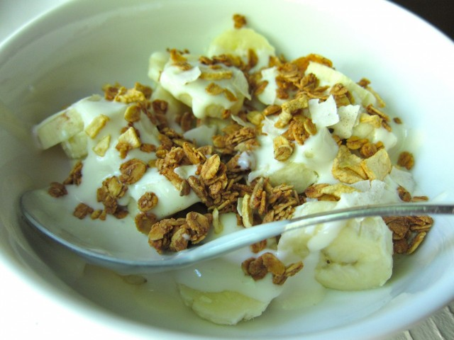Banana with maple yogurt and granola