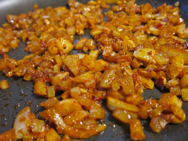 Onions and garlic in toasted spices