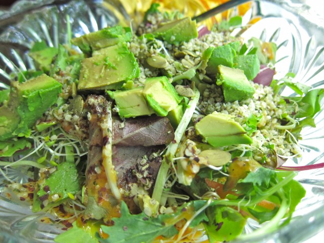 Salad with hemp seeds and broccoli slaw
