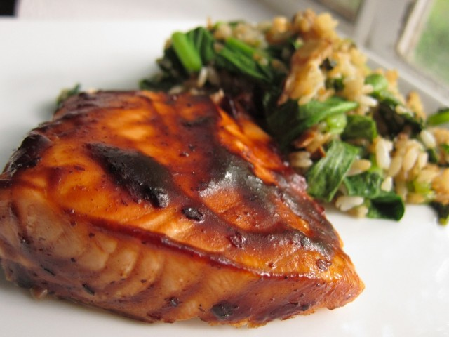 Salmon in black bean sauce