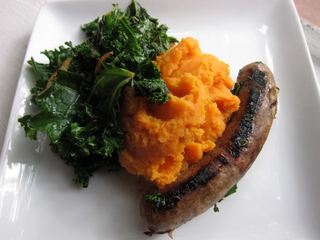Sausage, kale, and sweet potatoes