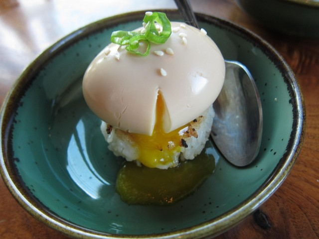 Oozy soy egg with crispy rice