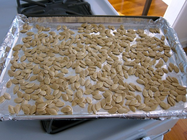 seeds on baking sheet