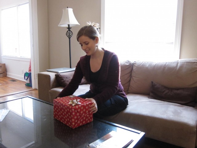 Me about to open present from Jeff