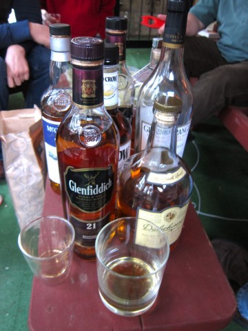 Outdoor whiskey tasting