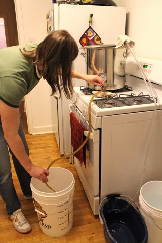 Draining the cooled wort