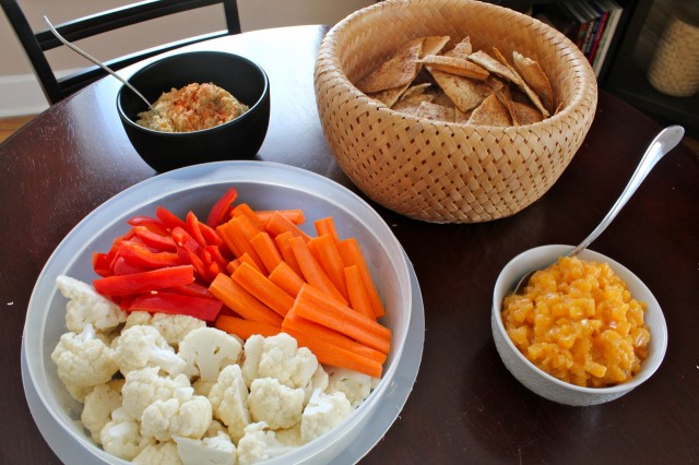 Roasted garlic dip and persimmon yogurt dip