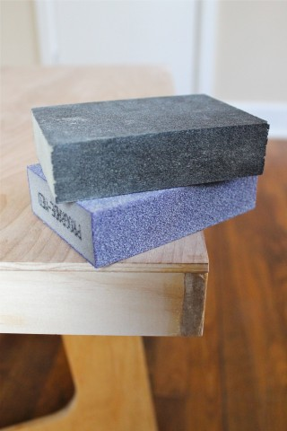 two grits of sandpaper block