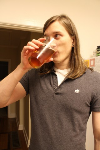 Jeff trying our pale ale 2 weeks later