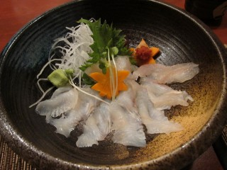 Fluke sashimi at Amu
