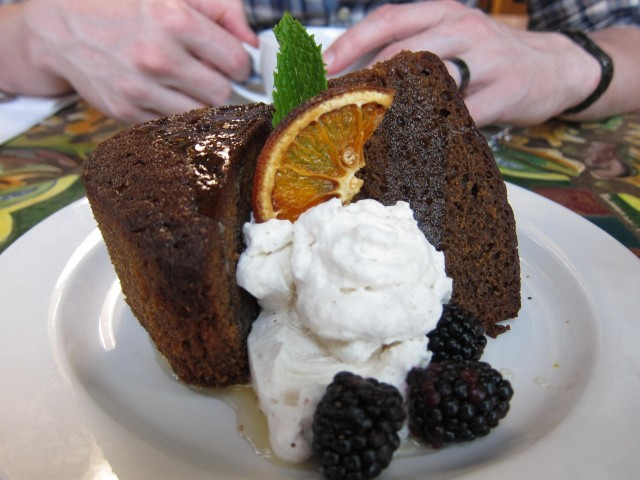 Gingerbread with five spice cream and orange