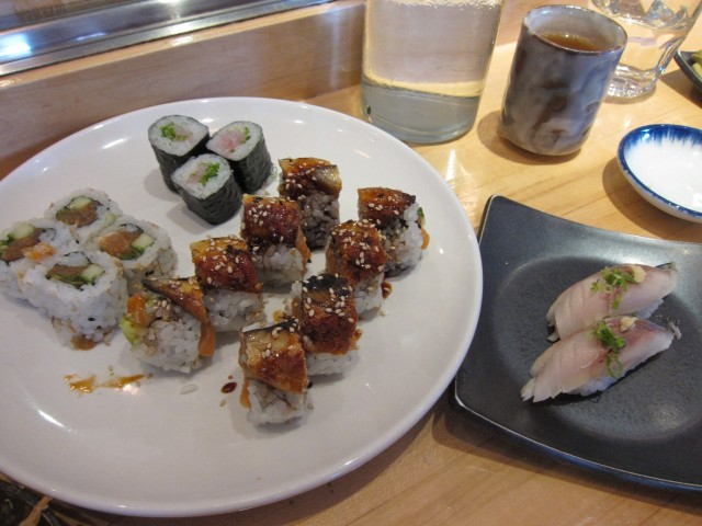 Maki rolls and yellowtail nigiri at Tora