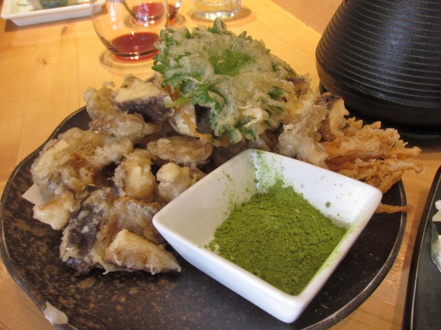 Mushroom tempura with green tea at Tora