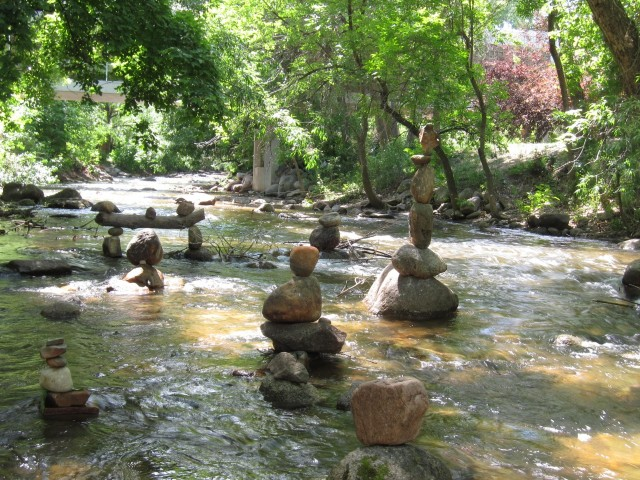 Stacked rocks in creek