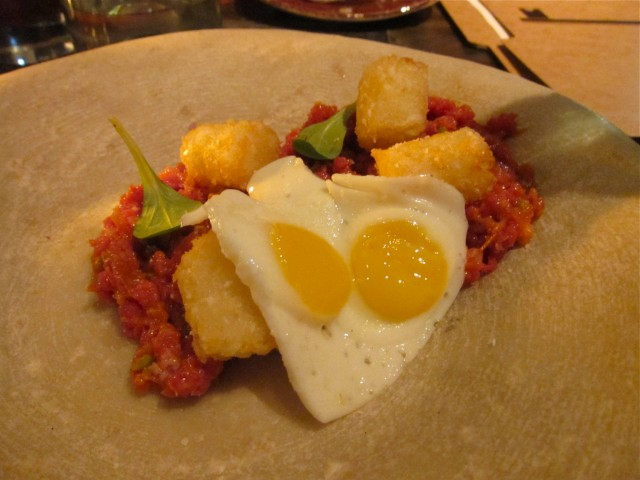 Harissa beef tartare with tater tots