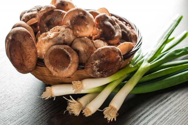 JF shiitakes and scallions