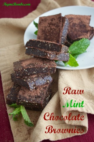 Raw mint chocolate brownies